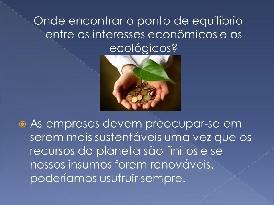 Onde encontrar o ponto de equilíbrio entre os interesses econômicos e os ecológicos?  As empresas devem preocupar-se em serem mais sustentáveis uma v