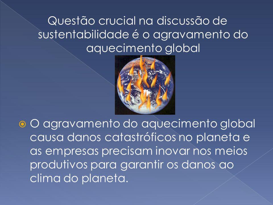Questão crucial na discussão de sustentabilidade é o agravamento do aquecimento global  O agravamento do aquecimento global causa danos catastróficos