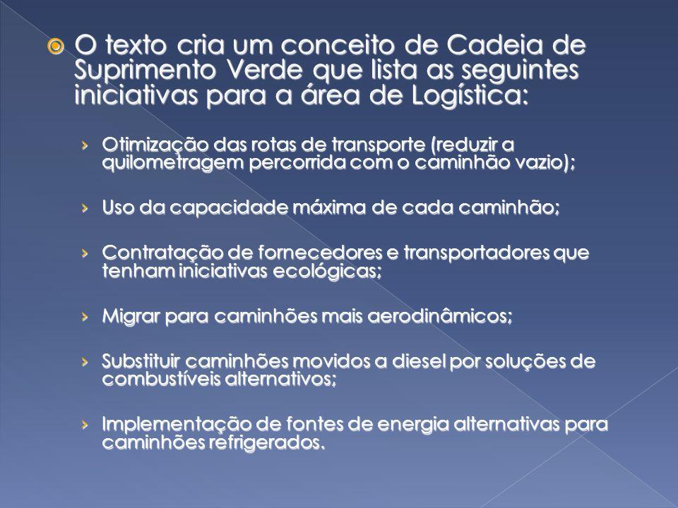  O texto cria um conceito de Cadeia de Suprimento Verde que lista as seguintes iniciativas para a área de Logística: › Otimização das rotas de transp