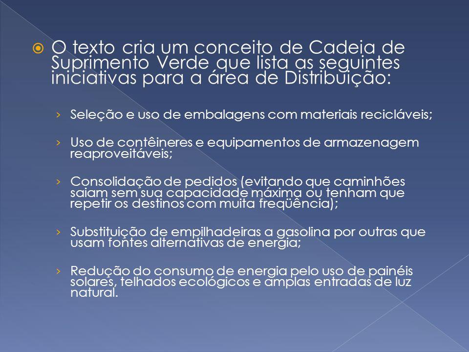  O texto cria um conceito de Cadeia de Suprimento Verde que lista as seguintes iniciativas para a área de Distribuição: › Seleção e uso de embalagens