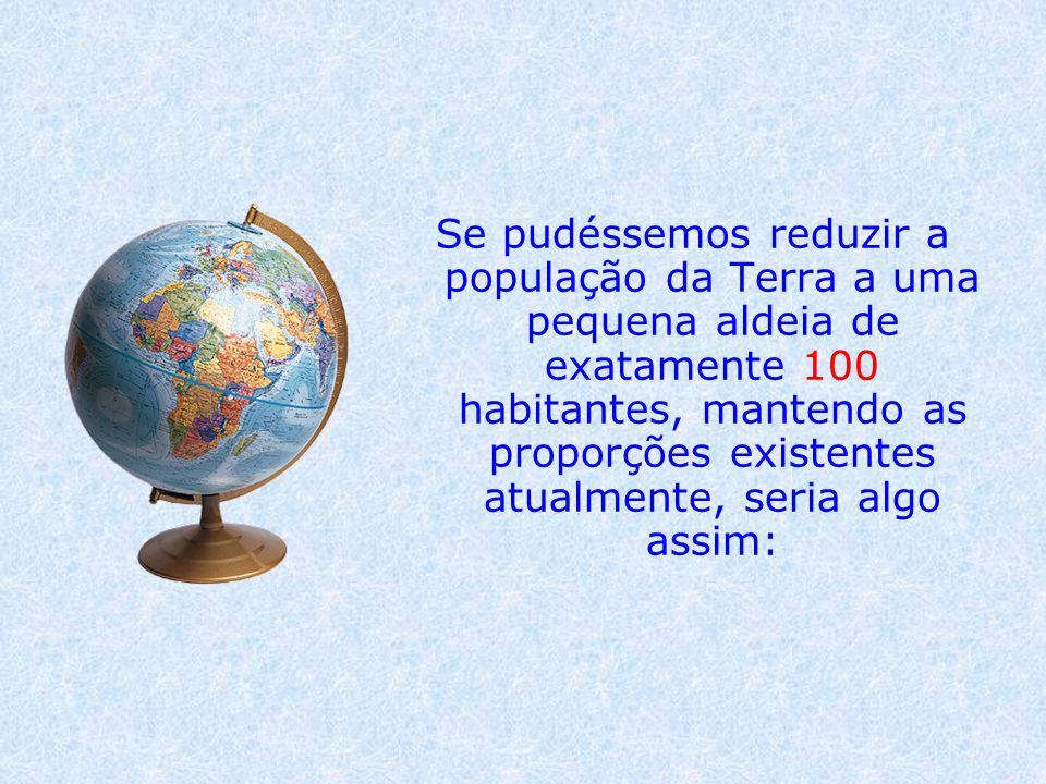Se pudéssemos reduzir a população da Terra a uma pequena aldeia de exatamente 100 habitantes, mantendo as proporções existentes atualmente, seria algo assim: