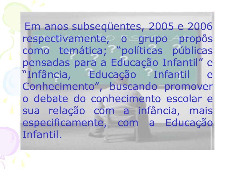 Em anos subseqüentes, 2005 e 2006 respectivamente, o grupo propôs como temática; políticas públicas pensadas para a Educação Infantil e Infância, Educação Infantil e Conhecimento , buscando promover o debate do conhecimento escolar e sua relação com a infância, mais especificamente, com a Educação Infantil.