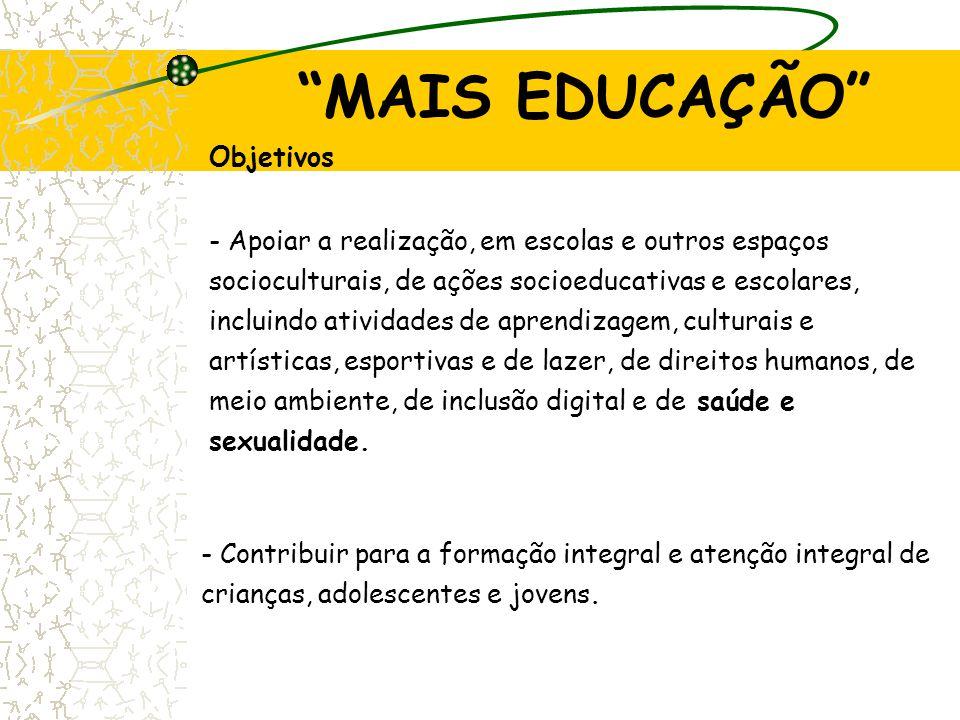 """""""MAIS EDUCAÇÃO"""" Objetivos - Apoiar a realização, em escolas e outros espaços socioculturais, de ações socioeducativas e escolares, incluindo atividade"""