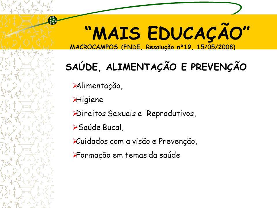 SAÚDE, ALIMENTAÇÃO E PREVENÇÃO  Alimentação,  Higiene  Direitos Sexuais e Reprodutivos,  Saúde Bucal,  Cuidados com a visão e Prevenção,  Formaç