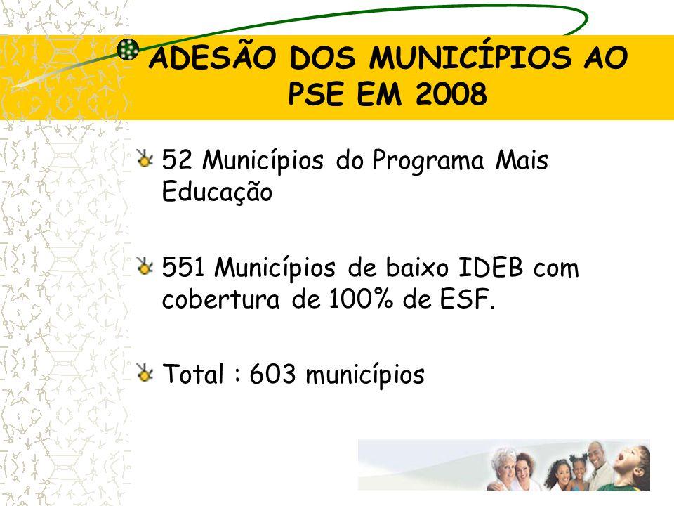 ADESÃO DOS MUNICÍPIOS AO PSE EM 2008 52 Municípios do Programa Mais Educação 551 Municípios de baixo IDEB com cobertura de 100% de ESF. Total : 603 mu