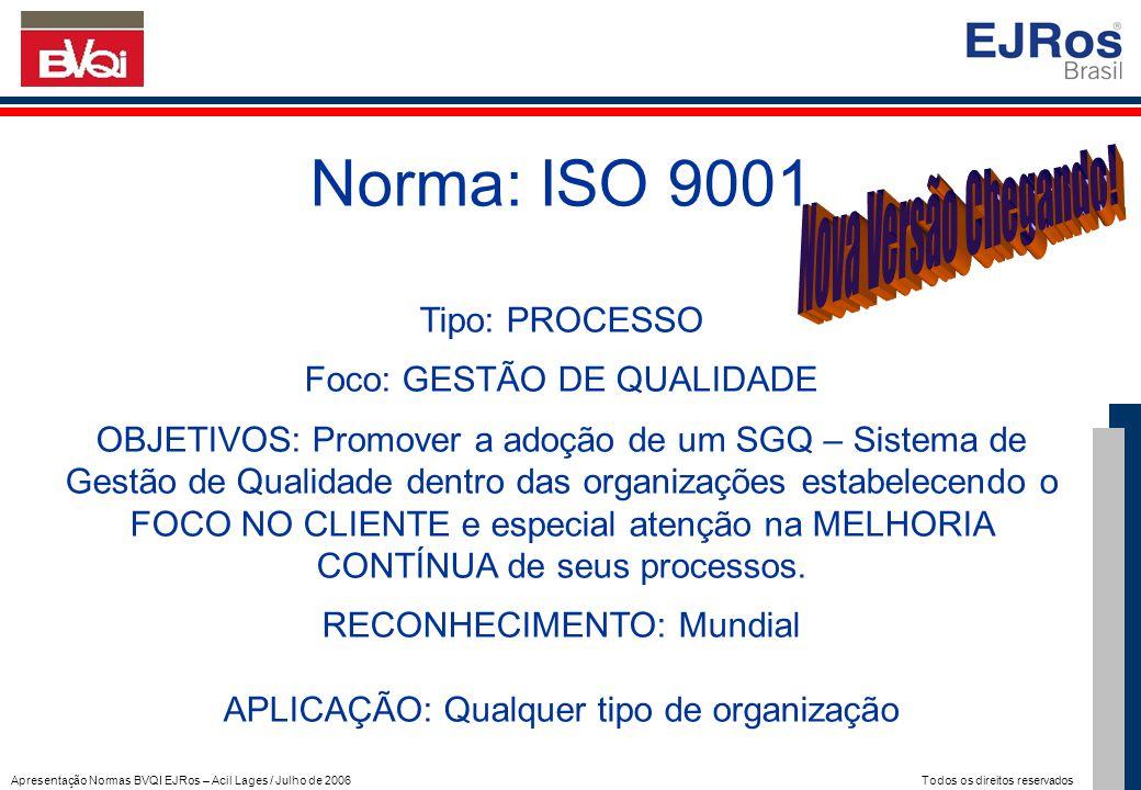 Apresentação Normas BVQI EJRos – Acil Lages / Julho de 2006 Todos os direitos reservados Norma: ISO 9001 Tipo: PROCESSO Foco: GESTÃO DE QUALIDADE OBJE