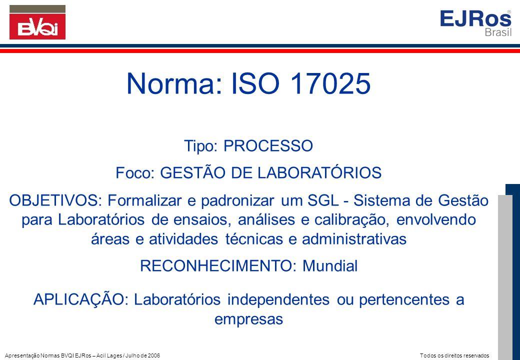 Apresentação Normas BVQI EJRos – Acil Lages / Julho de 2006 Todos os direitos reservados Norma: ISO 17025 Tipo: PROCESSO Foco: GESTÃO DE LABORATÓRIOS