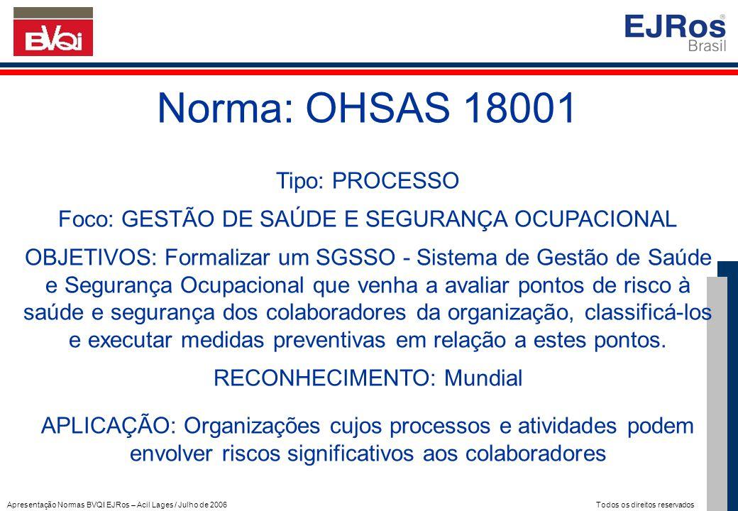 Apresentação Normas BVQI EJRos – Acil Lages / Julho de 2006 Todos os direitos reservados Norma: OHSAS 18001 Tipo: PROCESSO Foco: GESTÃO DE SAÚDE E SEG
