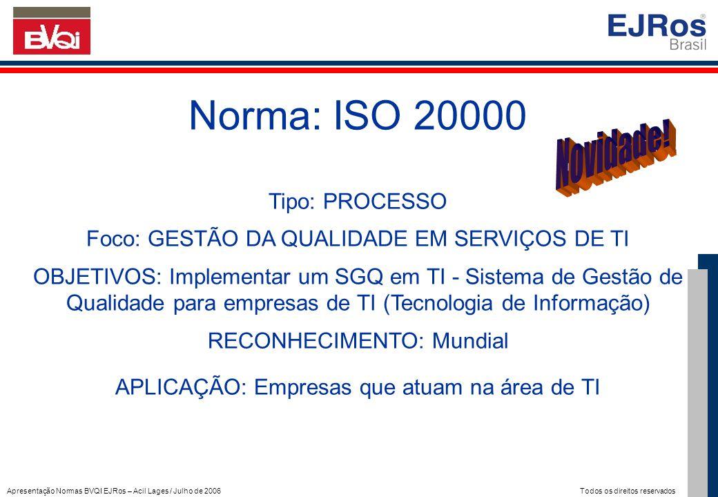 Apresentação Normas BVQI EJRos – Acil Lages / Julho de 2006 Todos os direitos reservados Norma: ISO 20000 Tipo: PROCESSO Foco: GESTÃO DA QUALIDADE EM