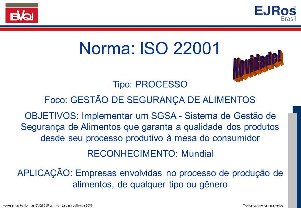 Apresentação Normas BVQI EJRos – Acil Lages / Julho de 2006 Todos os direitos reservados Norma: ISO 22001 Tipo: PROCESSO Foco: GESTÃO DE SEGURANÇA DE
