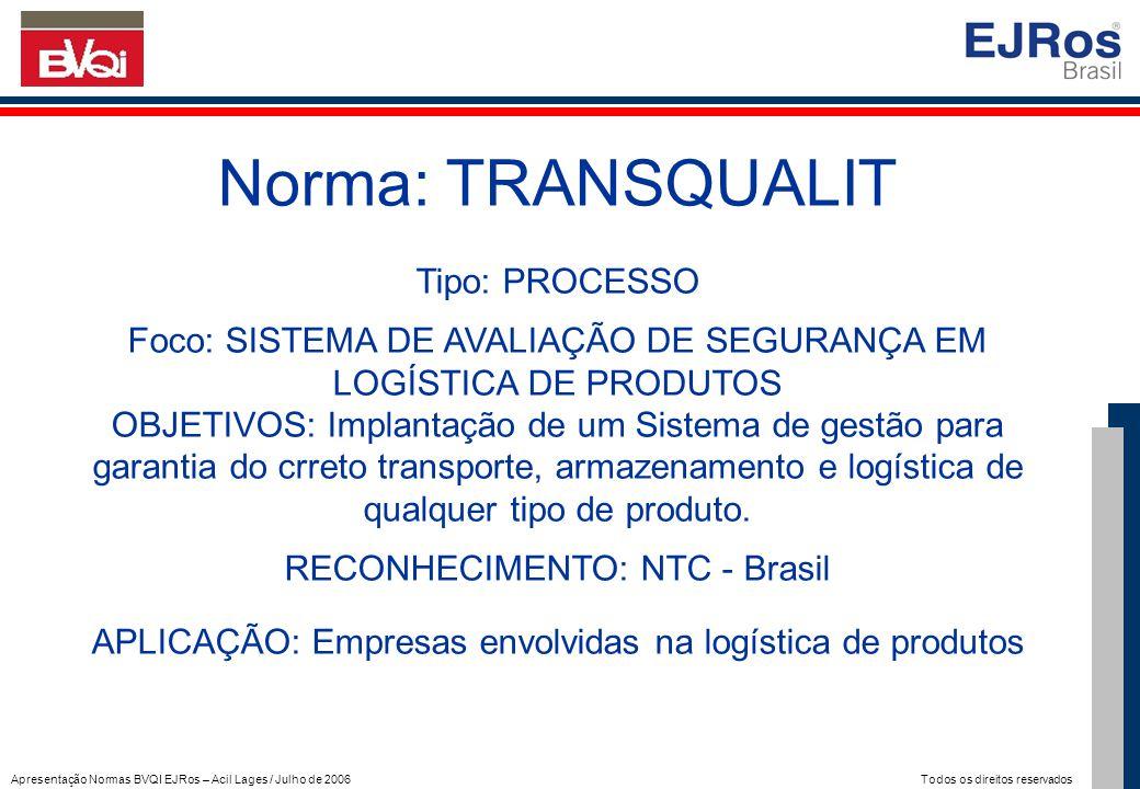Apresentação Normas BVQI EJRos – Acil Lages / Julho de 2006 Todos os direitos reservados Norma: TRANSQUALIT Tipo: PROCESSO Foco: SISTEMA DE AVALIAÇÃO