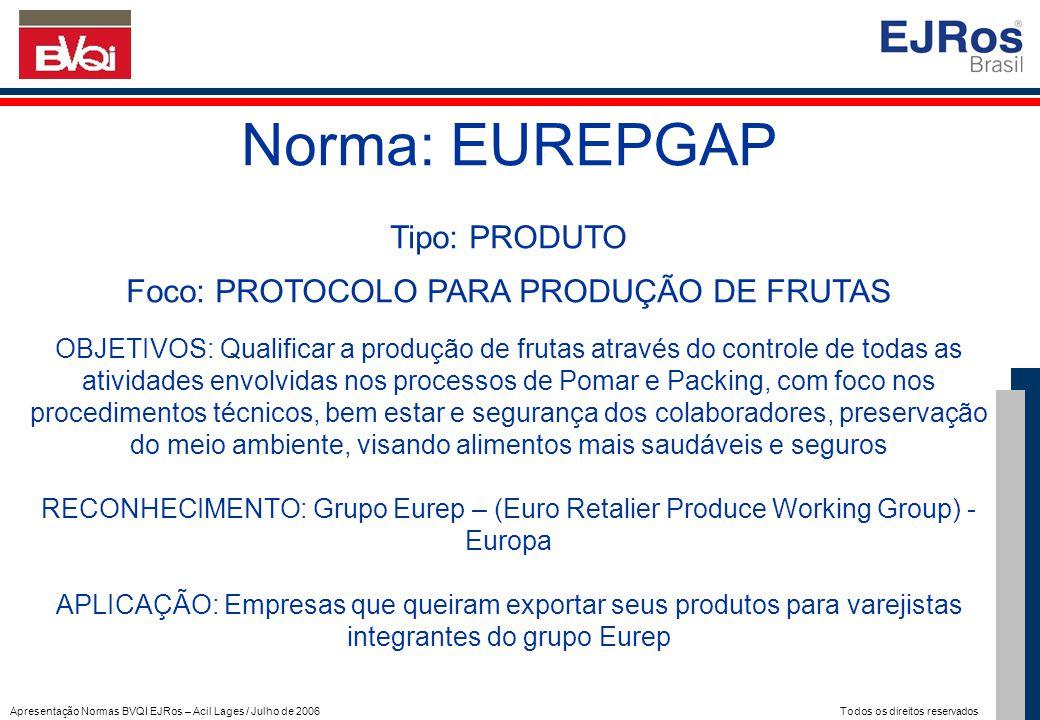 Apresentação Normas BVQI EJRos – Acil Lages / Julho de 2006 Todos os direitos reservados Norma: EUREPGAP Tipo: PRODUTO Foco: PROTOCOLO PARA PRODUÇÃO D