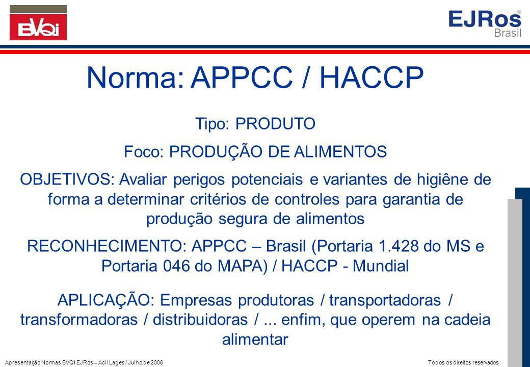 Apresentação Normas BVQI EJRos – Acil Lages / Julho de 2006 Todos os direitos reservados Norma: APPCC / HACCP Tipo: PRODUTO Foco: PRODUÇÃO DE ALIMENTO