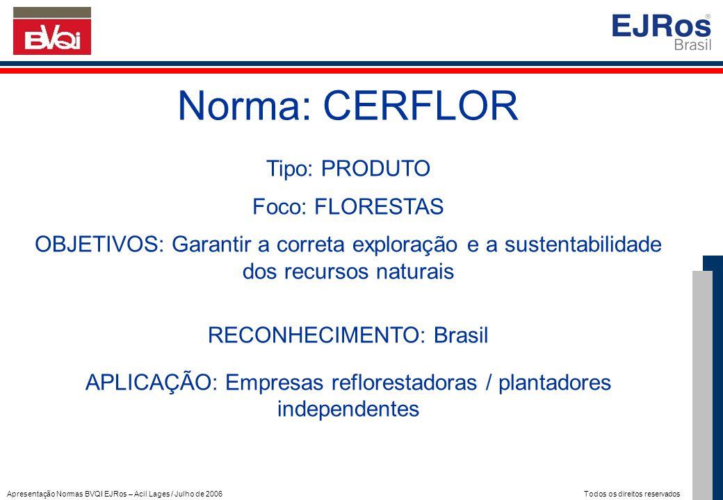 Apresentação Normas BVQI EJRos – Acil Lages / Julho de 2006 Todos os direitos reservados Norma: CERFLOR Tipo: PRODUTO Foco: FLORESTAS OBJETIVOS: Garan