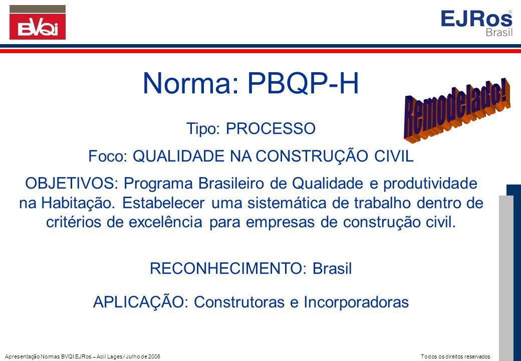 Apresentação Normas BVQI EJRos – Acil Lages / Julho de 2006 Todos os direitos reservados Norma: PBQP-H Tipo: PROCESSO Foco: QUALIDADE NA CONSTRUÇÃO CI