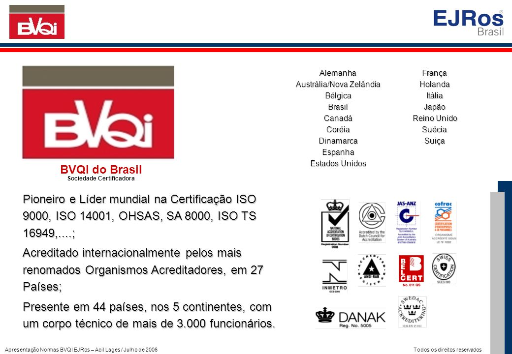 Apresentação Normas BVQI EJRos – Acil Lages / Julho de 2006 Todos os direitos reservados Everton José De Ros Engenheiro Eletricista (UFRGS) Pós-graduado em Robótica (Instituto Mihajlo Pupin / Yugoslávia) Pós-graduado em CLP's (Instituto Omron / Japão) MBA em Gestão Empresarial (FGV) Auditor Líder ISO 9001 com mais de 300 Auditorias Realizadas Diretor Executivo da EJRos Representante Regional do BVQI do Brasil Representante Regional da Interact Solutions Secretário da ABNT em diversas Comissões Normativas Responsável pelo Sistema de Gestão de mais de 60 empresas em todo Brasil Apresentação do Palestrante