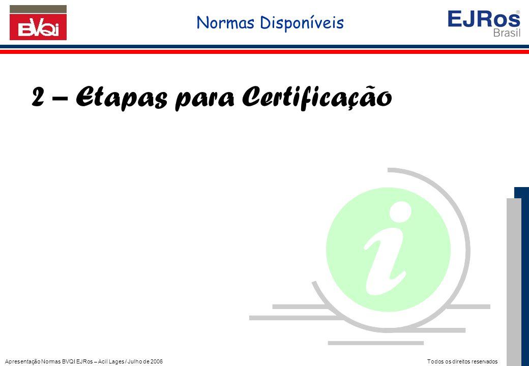 Apresentação Normas BVQI EJRos – Acil Lages / Julho de 2006 Todos os direitos reservados 2 – Etapas para Certificação Normas Disponíveis