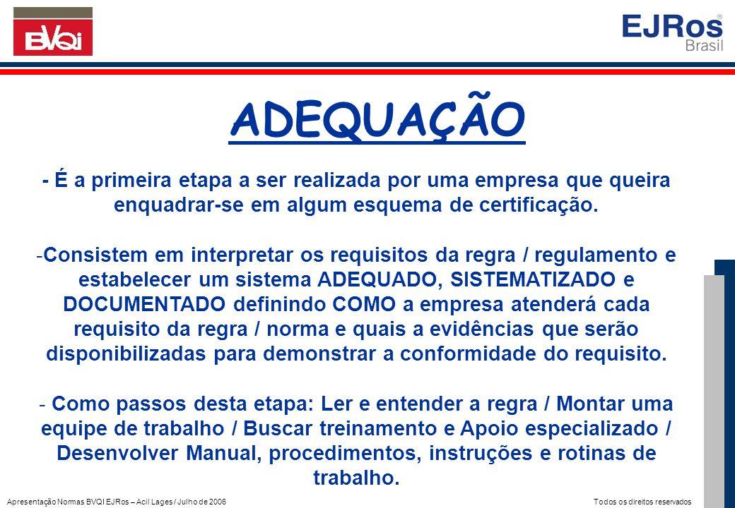 Apresentação Normas BVQI EJRos – Acil Lages / Julho de 2006 Todos os direitos reservados ADEQUAÇÃO - É a primeira etapa a ser realizada por uma empres