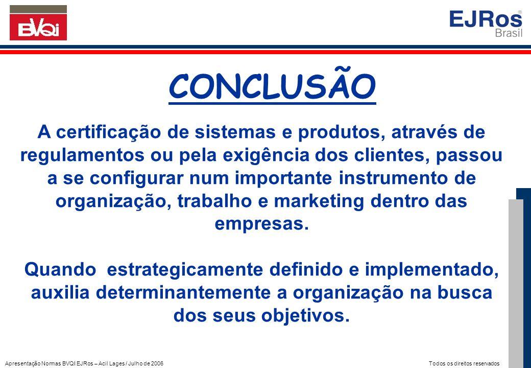 Apresentação Normas BVQI EJRos – Acil Lages / Julho de 2006 Todos os direitos reservados CONCLUSÃO A certificação de sistemas e produtos, através de r