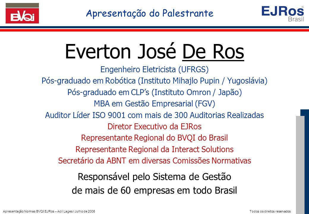 Apresentação Normas BVQI EJRos – Acil Lages / Julho de 2006 Todos os direitos reservados Everton José De Ros Engenheiro Eletricista (UFRGS) Pós-gradua