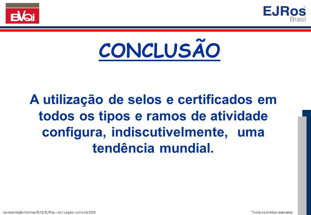 Apresentação Normas BVQI EJRos – Acil Lages / Julho de 2006 Todos os direitos reservados CONCLUSÃO A utilização de selos e certificados em todos os ti