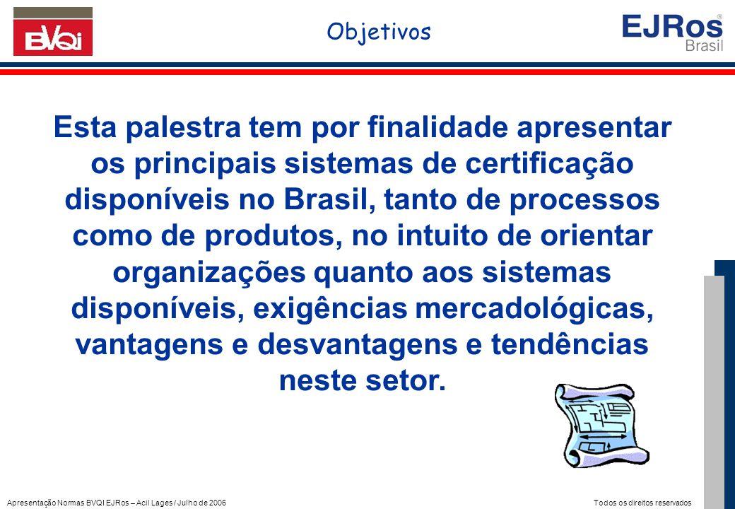 Apresentação Normas BVQI EJRos – Acil Lages / Julho de 2006 Todos os direitos reservados Norma: ISO 20000 Tipo: PROCESSO Foco: GESTÃO DA QUALIDADE EM SERVIÇOS DE TI OBJETIVOS: Implementar um SGQ em TI - Sistema de Gestão de Qualidade para empresas de TI (Tecnologia de Informação) RECONHECIMENTO: Mundial APLICAÇÃO: Empresas que atuam na área de TI