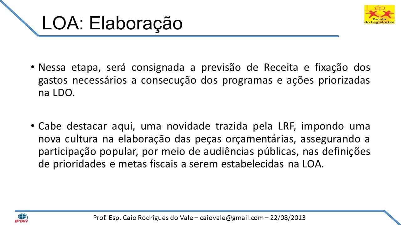 LOA: Elaboração • Nessa etapa, será consignada a previsão de Receita e fixação dos gastos necessários a consecução dos programas e ações priorizadas n