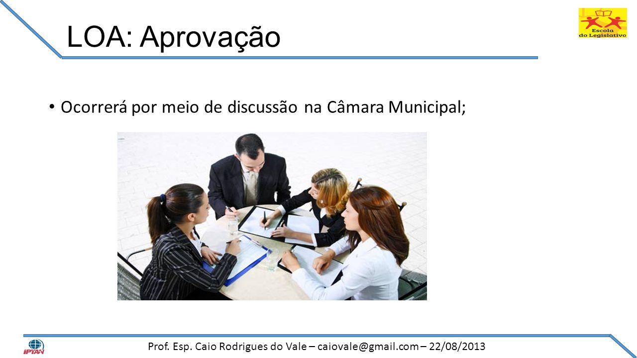 LOA: Aprovação • Ocorrerá por meio de discussão na Câmara Municipal; Prof. Esp. Caio Rodrigues do Vale – caiovale@gmail.com – 22/08/2013