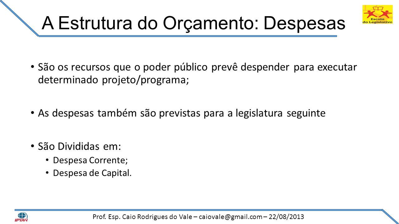 A Estrutura do Orçamento: Despesas • São os recursos que o poder público prevê despender para executar determinado projeto/programa; • As despesas tam