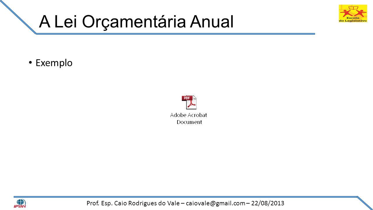 A Lei Orçamentária Anual • Exemplo Prof. Esp. Caio Rodrigues do Vale – caiovale@gmail.com – 22/08/2013
