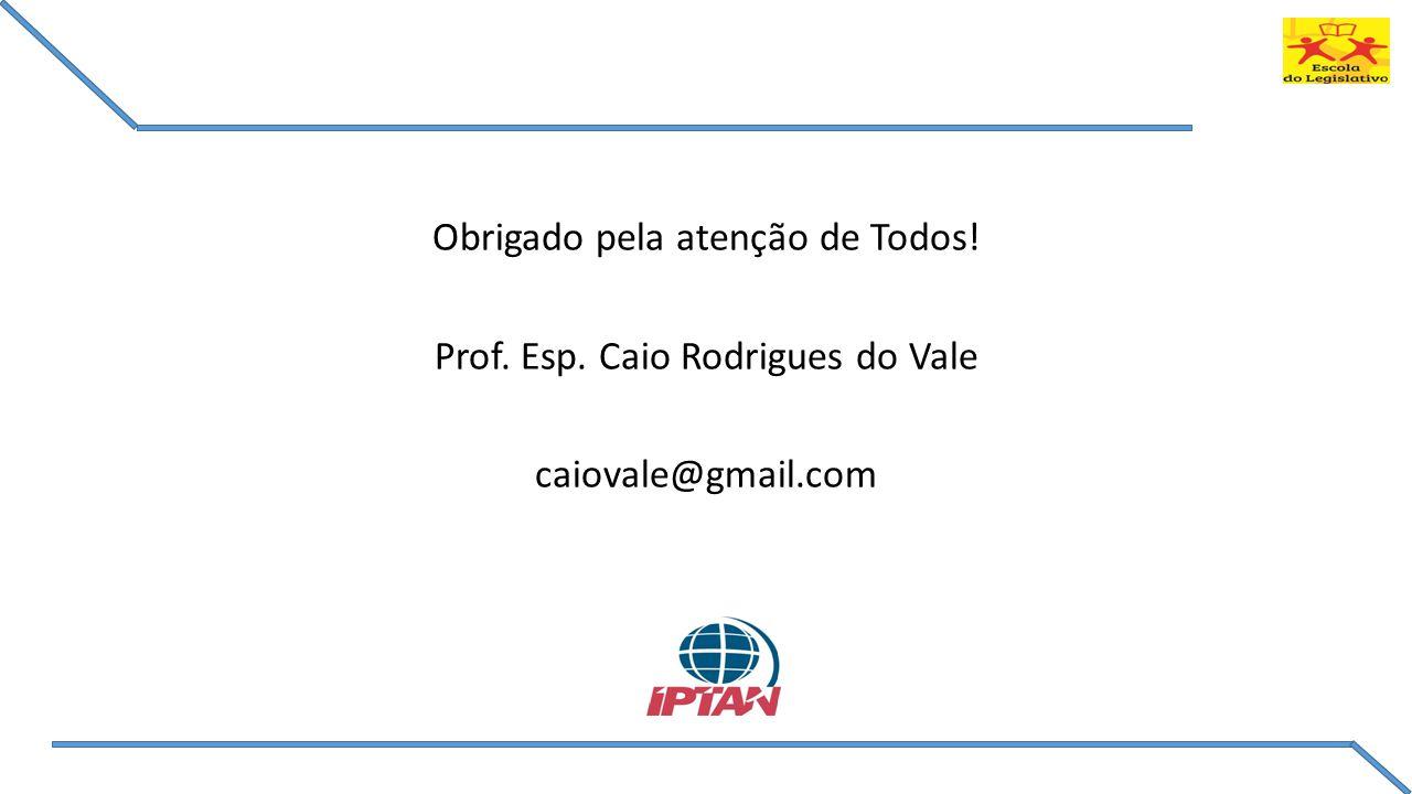 Obrigado pela atenção de Todos! Prof. Esp. Caio Rodrigues do Vale caiovale@gmail.com