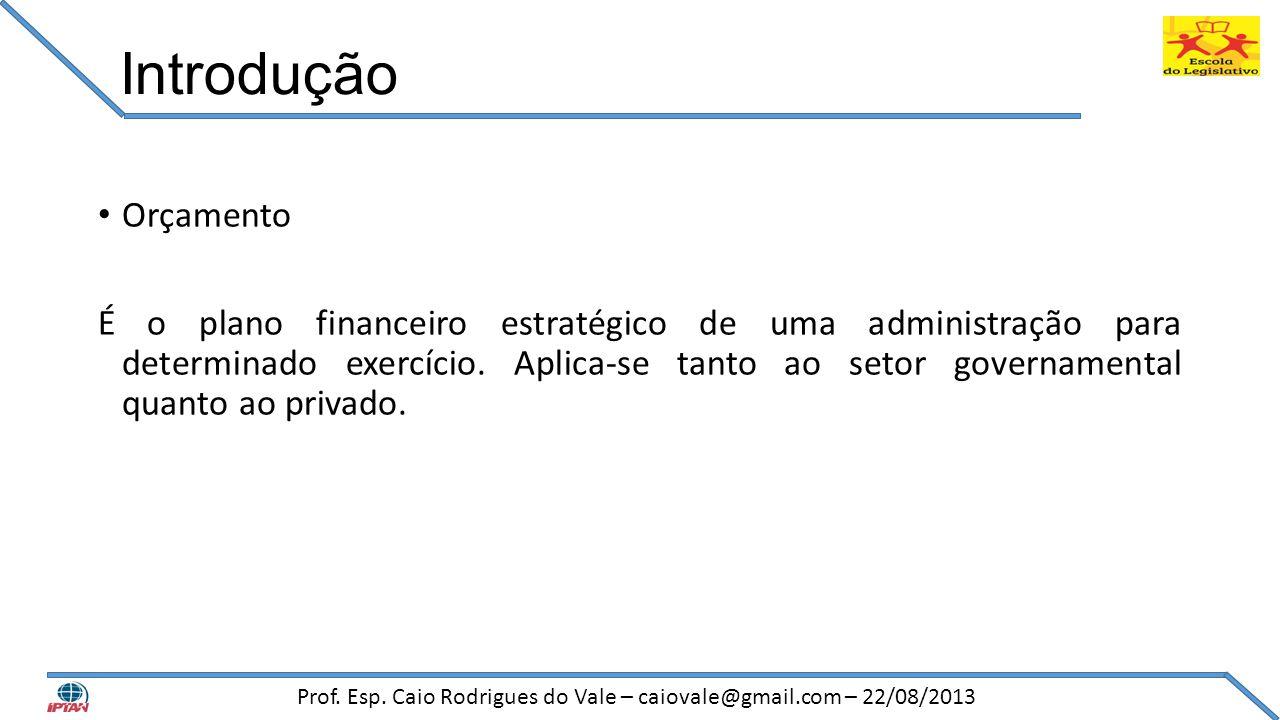 Introdução • Orçamento É o plano financeiro estratégico de uma administração para determinado exercício. Aplica-se tanto ao setor governamental quanto