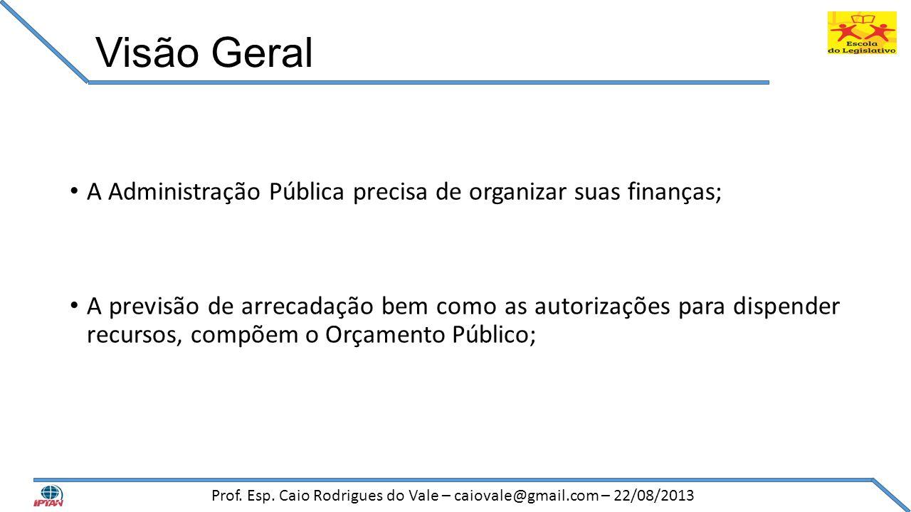 Visão Geral • A Administração Pública precisa de organizar suas finanças; • A previsão de arrecadação bem como as autorizações para dispender recursos