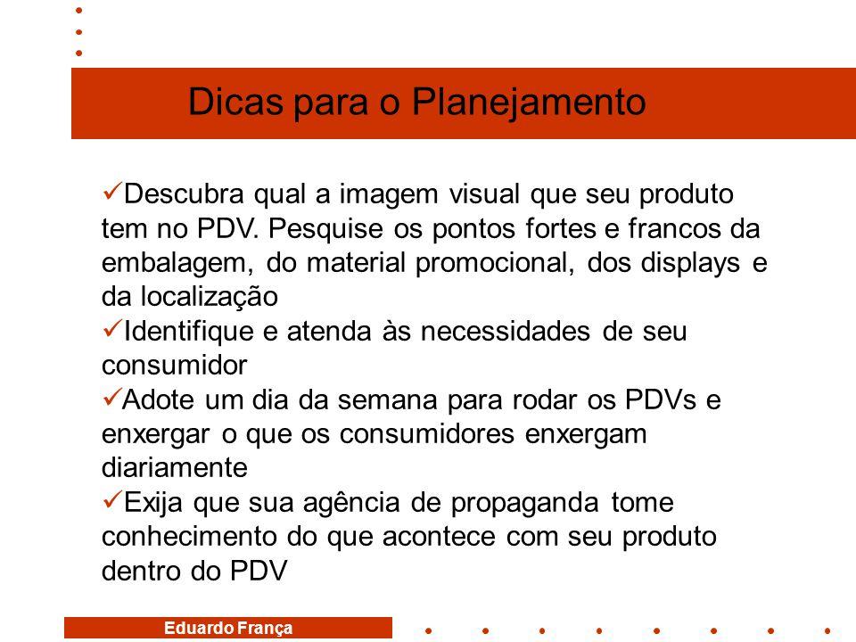 Eduardo França  Descubra qual a imagem visual que seu produto tem no PDV. Pesquise os pontos fortes e francos da embalagem, do material promocional,