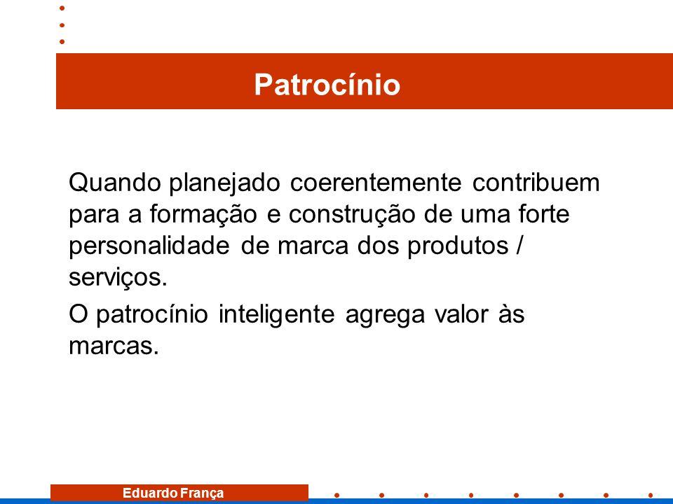 Eduardo França Patrocínio Quando planejado coerentemente contribuem para a formação e construção de uma forte personalidade de marca dos produtos / se