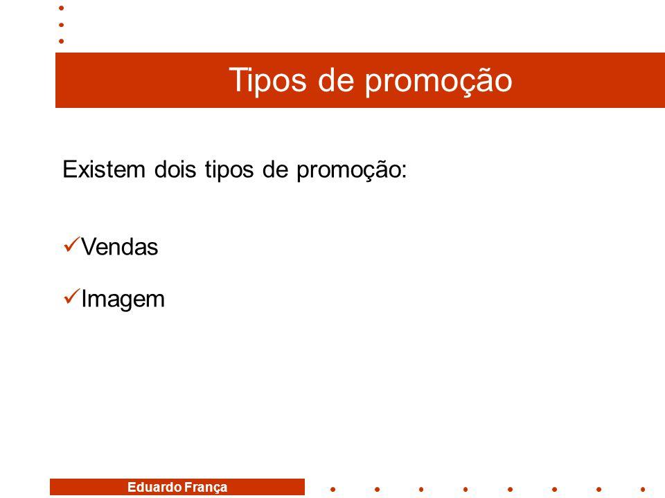 Existem dois tipos de promoção:  Vendas  Imagem Tipos de promoção