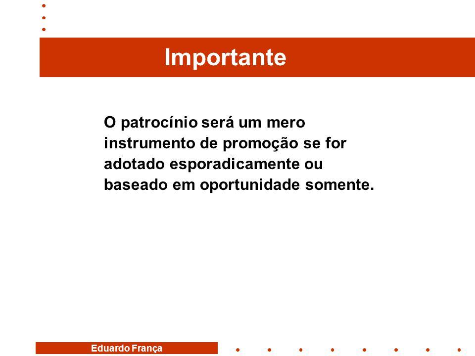 Eduardo França O patrocínio será um mero instrumento de promoção se for adotado esporadicamente ou baseado em oportunidade somente. Importante
