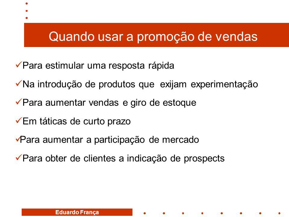 Eduardo França Quando usar a promoção de vendas  Para estimular uma resposta rápida  Na introdução de produtos que exijam experimentação  Para aume