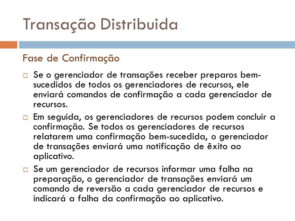 Transação Distribuida  Se o gerenciador de transações receber preparos bem- sucedidos de todos os gerenciadores de recursos, ele enviará comandos de