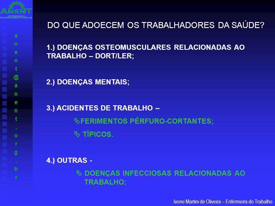 anent@anent.org.branent@anent.org.br Ivone Martini de Oliveira – Enfermeira do Trabalho DO QUE ADOECEM OS TRABALHADORES DA SAÚDE? 1.) DOENÇAS OSTEOMUS