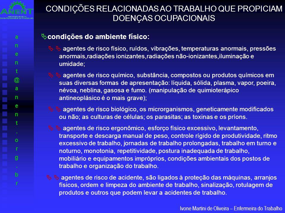 anent@anent.org.branent@anent.org.br Ivone Martini de Oliveira – Enfermeira do Trabalho  condições do ambiente físico:   agentes de risco físico, r