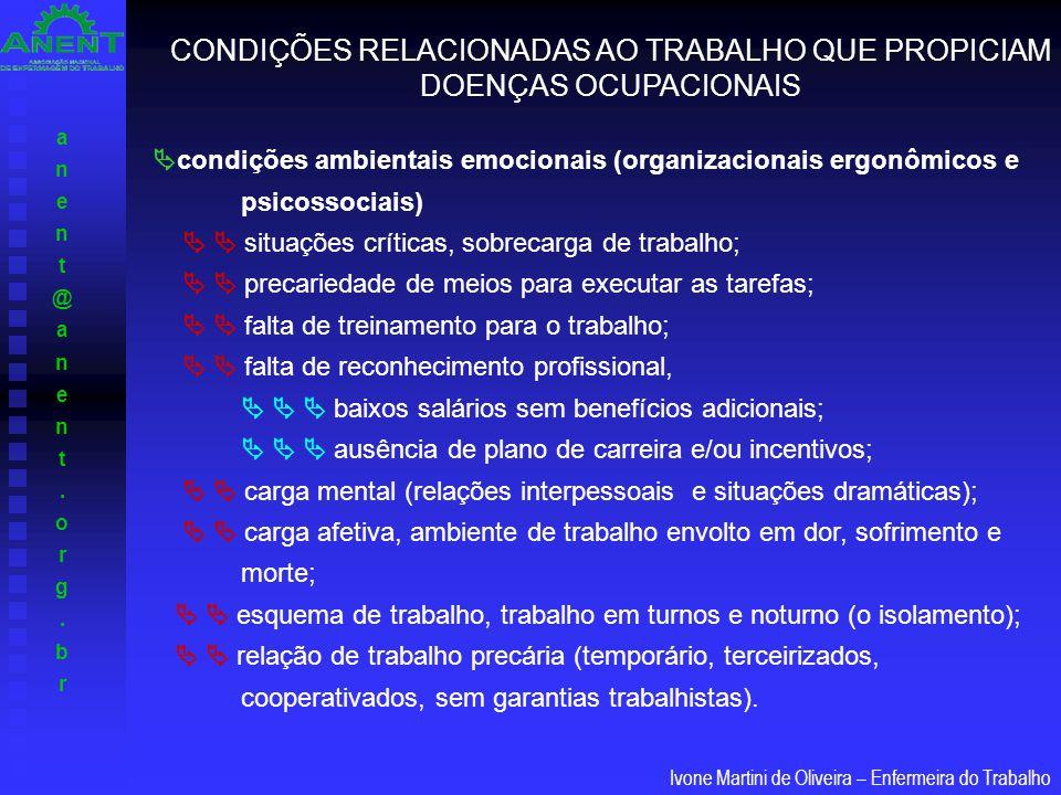 anent@anent.org.branent@anent.org.br Ivone Martini de Oliveira – Enfermeira do Trabalho  condições ambientais emocionais (organizacionais ergonômicos