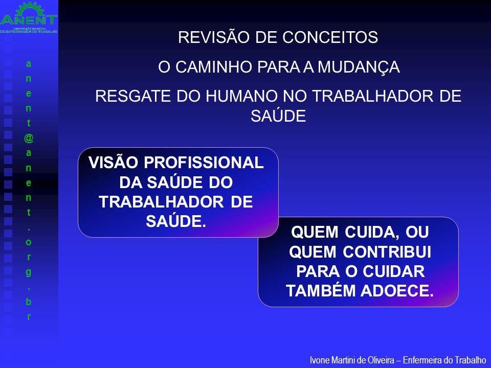 anent@anent.org.branent@anent.org.br Ivone Martini de Oliveira – Enfermeira do Trabalho VISÃO PROFISSIONAL DA SAÚDE DO TRABALHADOR DE SAÚDE. REVISÃO D