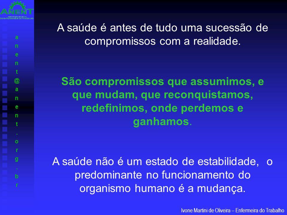 anent@anent.org.branent@anent.org.br Ivone Martini de Oliveira – Enfermeira do Trabalho A saúde é antes de tudo uma sucessão de compromissos com a rea