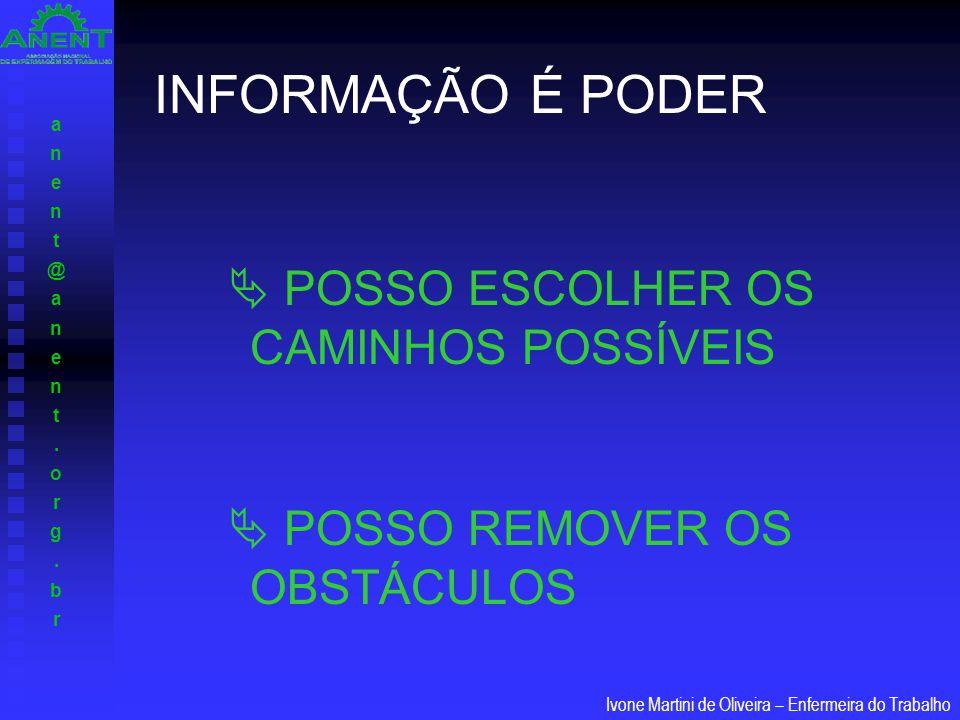 anent@anent.org.branent@anent.org.br Ivone Martini de Oliveira – Enfermeira do Trabalho INFORMAÇÃO É PODER  POSSO ESCOLHER OS CAMINHOS POSSÍVEIS  PO