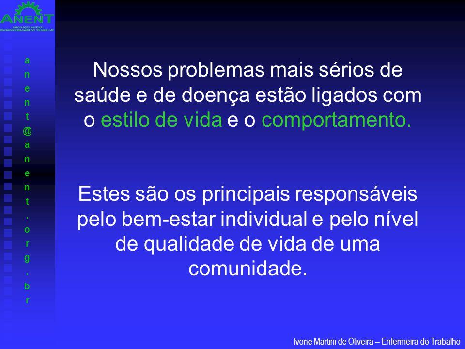 anent@anent.org.branent@anent.org.br Ivone Martini de Oliveira – Enfermeira do Trabalho A saúde é determinada por um conjunto de fatores agrupáveis em quatro categorias: