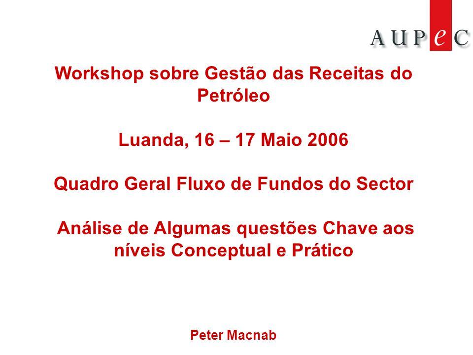 Workshop sobre Gestão das Receitas do Petróleo Luanda, 16 – 17 Maio 2006 Quadro Geral Fluxo de Fundos do Sector Análise de Algumas questões Chave aos níveis Conceptual e Prático Peter Macnab