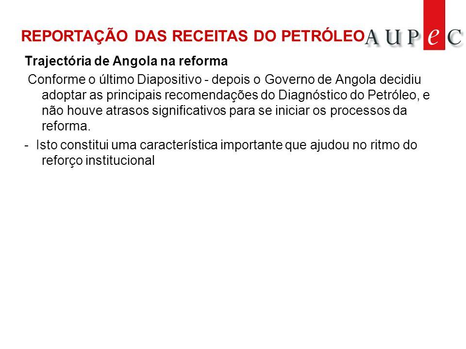 Trajectória de Angola na reforma Conforme o último Diapositivo - depois o Governo de Angola decidiu adoptar as principais recomendações do Diagnóstico do Petróleo, e não houve atrasos significativos para se iniciar os processos da reforma.
