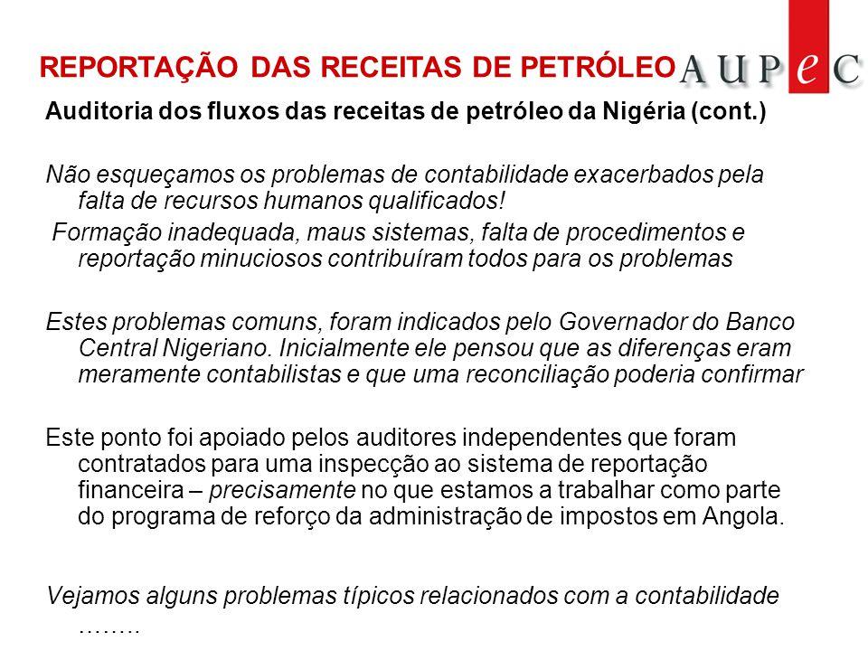 Auditoria dos fluxos das receitas de petróleo da Nigéria (cont.) Não esqueçamos os problemas de contabilidade exacerbados pela falta de recursos humanos qualificados.