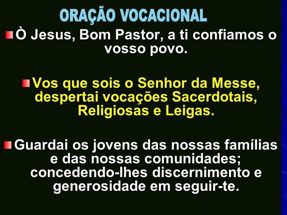 Ò Jesus, Bom Pastor, a ti confiamos o vosso povo. Vos que sois o Senhor da Messe, despertai vocações Sacerdotais, Religiosas e Leigas. Guardai os jove